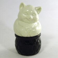 Vtg Collectible Cat Bottle Pot Basket Avon Field Flowers Cream Sachet Figurine