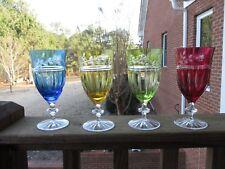 4 AJKA PROINNSEAS ICED TEA BEVERAGE WATER GLASS CASED CUT TO CLEAR CRYSTAL
