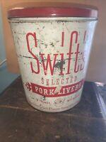 Vintage 10 Lb. Swift's Pork Livers Tin