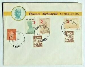 1954 Turkey FDC Cover Turkish Red Crescent Society visit of Florence Nightingale
