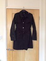 Oasis Black Faux Leather Sleeve Trench Coat Jacket size S 8 10