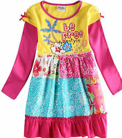 KIDS GIRLS MY LITTLE PONY,COTTON EMBROIDED LONG SLEEVES SHORT PARTY DRESS.3-8YRS