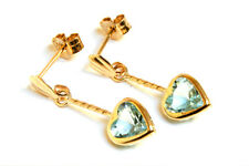 9ct Gold Blue Topaz Heart Drop dangly earrings Gift Boxed Made in UK