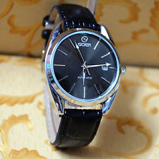 GOER Luxury AutoMechanical XL Skeleton Hollow Black Leather Men Mechanical Watch