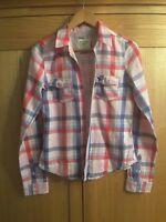 Abercrombie and Fitch pink/blue/white Check Long Sleeve Shirt