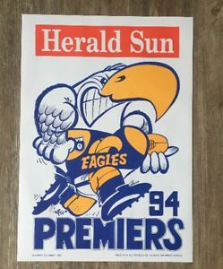 1994 West Coast Eagles WEG Premiership Poster MINT CONDITION!