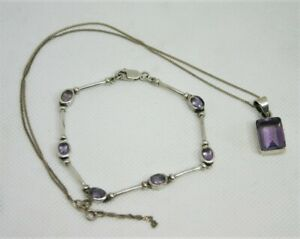 Sterling Silver and Amethyst Pendant and Bracelet - Thames Hospice