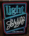 "RARE Vintage 1982 SCHLITZ Beer Light Lighted Bar Neon Box Sign Man Cave 20""x15"""