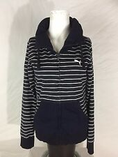 ❤️PUMA Womens NAVY BLUE & WHITE STRIPED NAUTICAL Zip Up Long Sleeve JACKET❤️Sz L