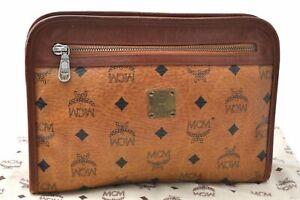 Authentic MCM Cognac Visetos Leather Vintage Clutch Hand Bag Brown B8440