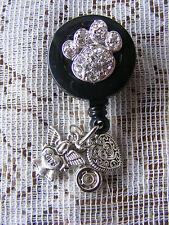 Angel Heart Charms Pet Paw Print ID Badge Name Tag Key Card Holder Lanyard Reel