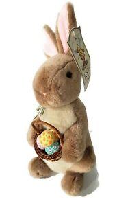 "Gund Classic Pooh Brown Rabbit Plush 12"" Easter Basket Winnie the Pooh Stuffed"
