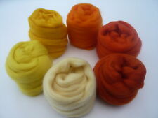 Heidifeathers Merino Wool Tops 'Outstanding Oranges and Yellows' - Felting Wool