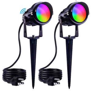 2PCS RGB LED 12V Outdoor Garden Spot Lights Waterproof Yard Lawn Landscape Lamp