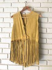 Vintage Split Cowhide Suede Leather Fringe Vest Small Sleeveless Western V Neck