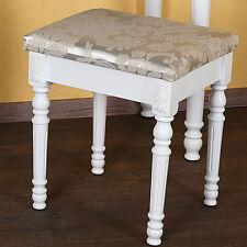 Polsterhocker Schminktischhocker Design floral Holz weiß Fußhocker Sitzmöbel