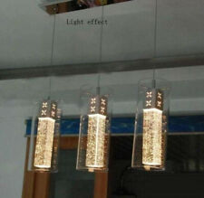 Cylindrical Glass LED Crystal Pendant Lamp Chandelier Cloakroom Chrome Fixtures