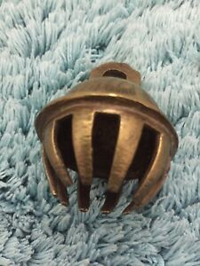 Vintage Antique Brass Elephant Claw Temple Bell 6cm tall - Missing Bell