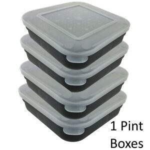 Maggot Box Bait Tub Boxes Square Black 1 PINT Coarse Match Fishing