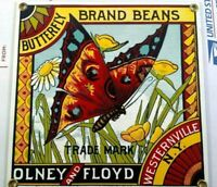 Ande Rooney Porcelain Metal Sign Butterfly Brand Beans Olney and Floyd USA RARE