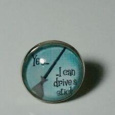 ROUND GLASS BROOCH/TIE CLIP/BADGE/WITCH I CAN DRIVE A STICK