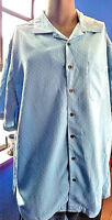 Island Passport Button Front Mens Shirt 2XLT Baby Blue Light Cool Fabric