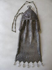 Antique Art Nouveau Filigree Frame Czech Glass Jewel Silver T Chain Mail Purse