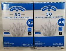 Holiday Time COOL WHITE Christmas Lights WHITE Wire 50 ct 12 ft x2 =100 wedding