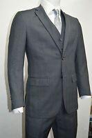 Men's Charcoal Gray Glen Plaid 3 Piece 2 Button Slim Fit Suit SIZE 52L NEW