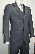 Men's Charcoal Gray Glen Plaid 3 Piece 2 Button Slim Fit Suit SIZE 46L NEW