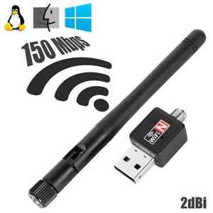 Antena WIFI USB Adaptador 150Mbps 2dBi LAN 802.11 para Windows Linux MacOS Negra