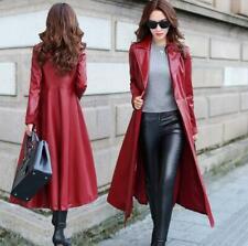 Women's Genuine Real Leather Lambskin Long Trench Overcoat Collar Coat Jacket