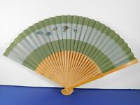 Vintage Asian Hand Held Fan Hand Painted Paper Hand Carved Bamboo 15 Inches Open