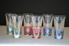 GORGEOUS VINTAGE SET OF (6) COLORED SHOT GLASSES