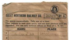 GREAT NORTHERN RAILWAY G.N.Ry. R.R.B. RAILROAD CONDUCTOR ENVELOPE w/ LOGO 1940's