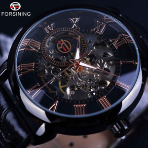 Mens Stainless Steel Leather Steampunk Skeleton Wind Up Mechanical Wrist Watches
