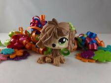 Littlest Pet Shop Light Brown Komondor Dog Green Eyes and Bow #1866 Mop Dog