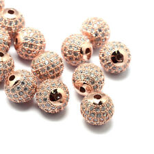 10pcs Rose Gold Brass Pave Crystal Cubic Zirconia Beads Round Loose Beads 8x7mm