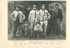 Catastrophe des charbonnage de Frameries sauveteurs de la mine GRAVURE 1879