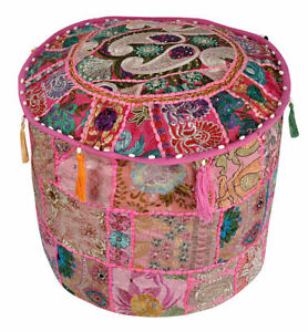 Indien Cotton Handcrafted Embroidered Cushion Cover Ottoman Pouffe Footstools