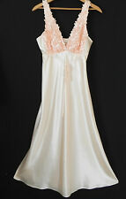 New Flora Night Gown Peach Tone Sleeveless Full Length 3D Floral Trim Size M