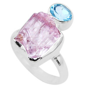 9.05cts Natural Pink Kunzite Rough Blue Topaz 925 Silver Ring Size 8 T48200