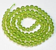 """Rare Arizona Peridot Faceted Round Beads 20"""" Strand"""