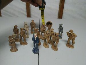 """Lot of 14-WW1/WW2? COMPOSITION 3 1/2"""" TOY SOLDIERS.very old**VERY RARE**"""