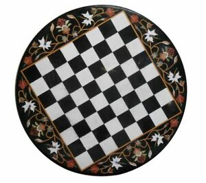 Black Marble Coffee Chess Table Top Precious Multi Stone Floral Inlay Home Decor
