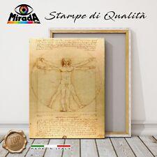 QUADRO Leonardo da Vinci Uomo Vitruviano  STAMPA TELA CANVAS corpo umano cerchio