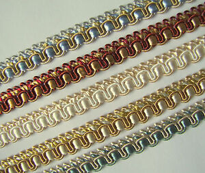 Braid Gimp Trim 11 mm wide 1 metre upholstery craft edging - choice of 5 colours