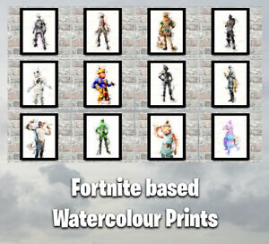 Fortnite Print Watercolour Sketch Pictures for Children Gamers Gaming Kids Art