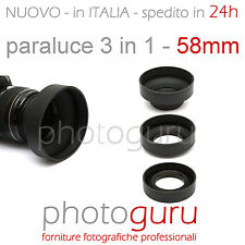 Paraluce 3 in 1 58mm universale gomma compatibile Canon Nikon Sony Tamron 58 m
