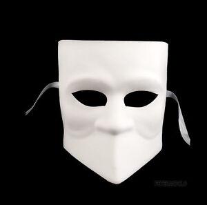 Masque de Venise Blanc à Peindre Bauta Authentique Carnaval Venitien  377